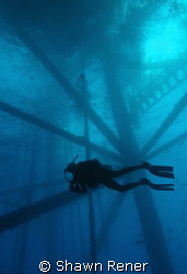 Diving working oil platform in the Gulf of Mexico..... by Shawn Rener 